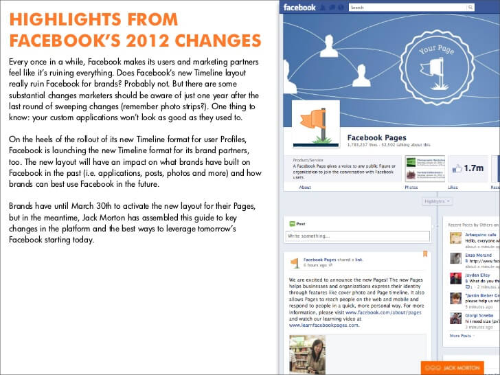 facebook timeline changes 2012